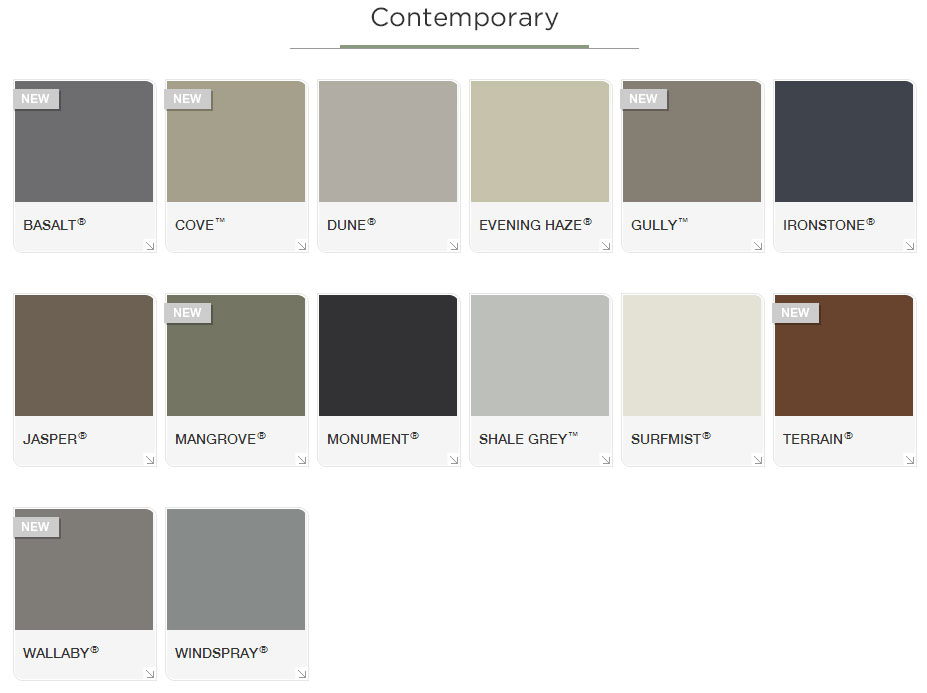 Contemporary colorbond range